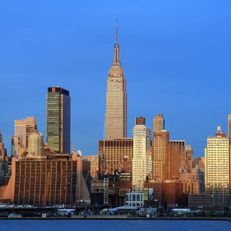Blick von New Jersey auf Manhattan