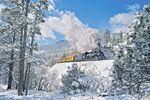 Durango & Silverton Narrow Gauge Railroad im Winter in Colorado