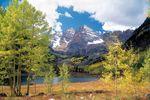 Maroon Bells in den Elk Mountains, Colorado in den Rocky Mountain Staaten der USA