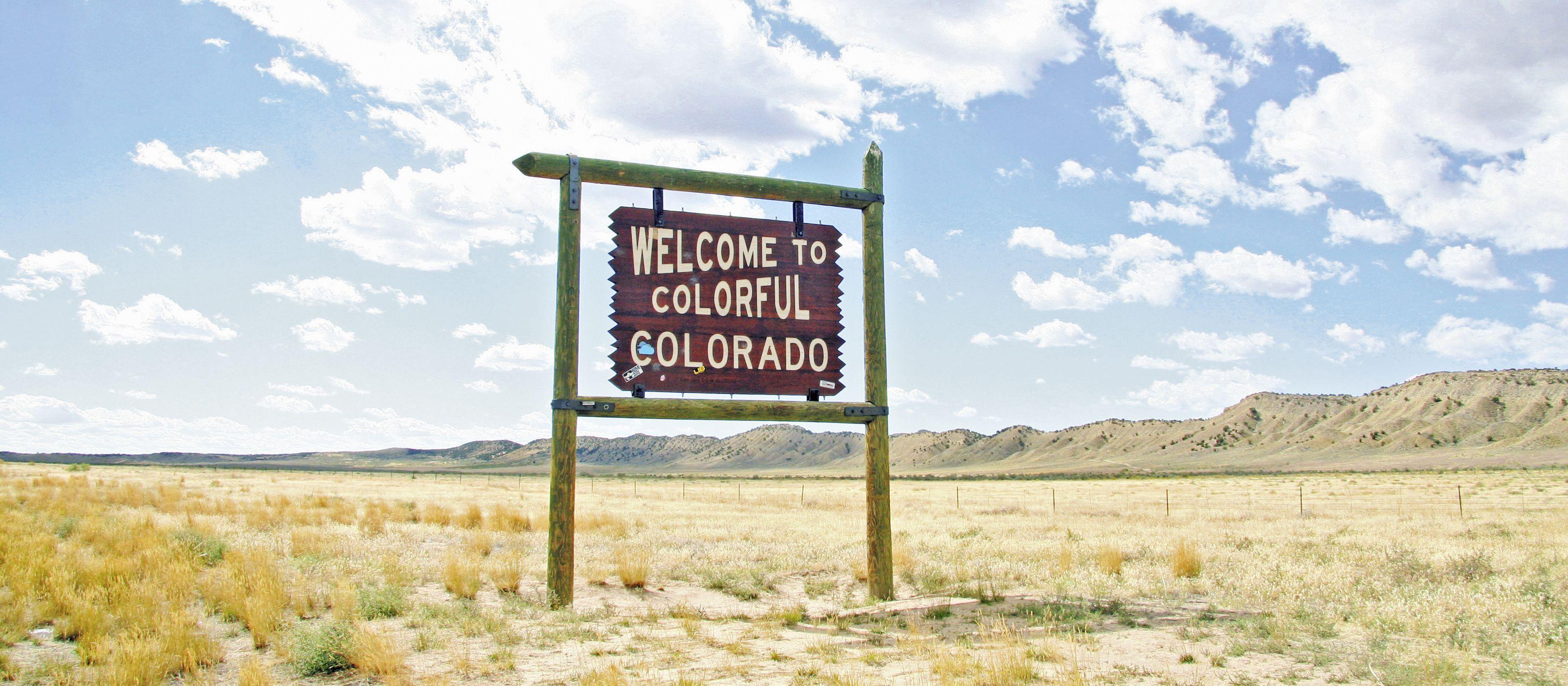 Willkommens-Schild in Colorado