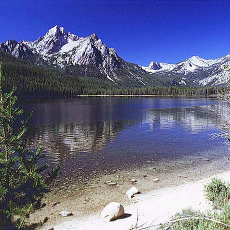 Stanley Lake sits at the base of Mt. McGown in the Sawtooth National Recreation Area.