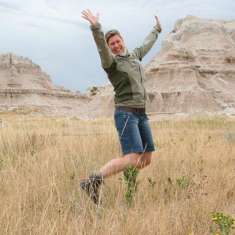 Kathrin im Badlands-Nationalpark, South Dakota