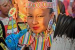 Pow-Wow-Indianermädchen aus South Dakota in den Rocky Mountain Staaten