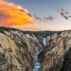 Sonnenuntergang am Grand Canyon of the Yellowstone, Yellowstone, Wyoming