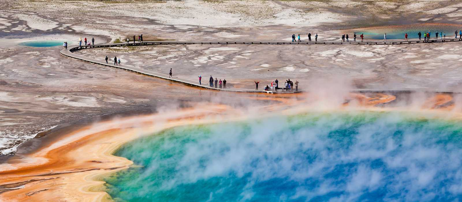Die Thermalquelle Grand Prismatic Spring, Yellowstone Nationalpark, Wyoming