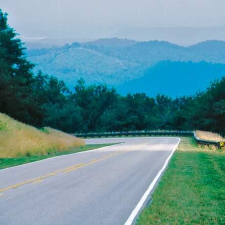 Eine Straße in Alabama führt durch die Natur