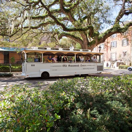 Bus der Trolley Tours in Savannah, Georgia