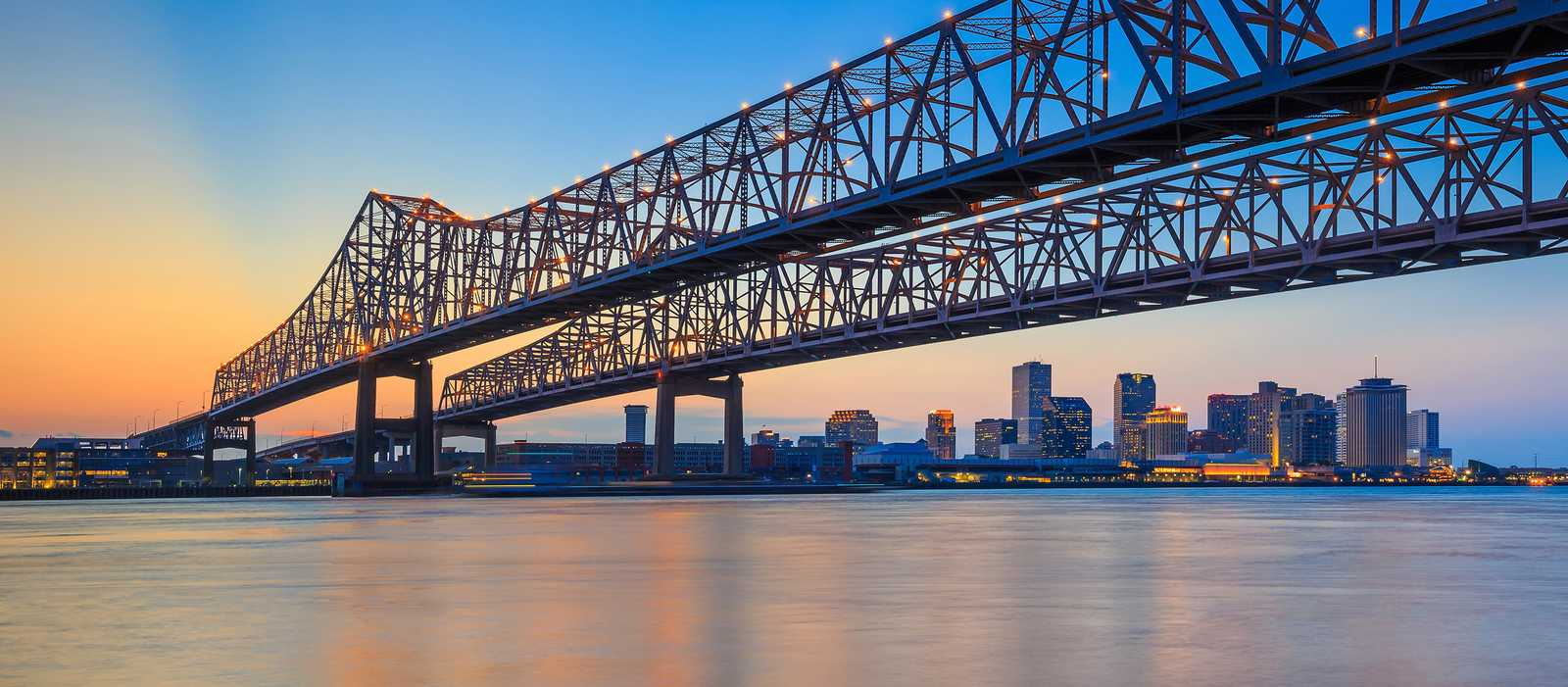 The Crescent City Connection, Mississippi River, New Orleans, Louisiana