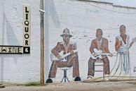 Wandmalereien von einer Bluesgruppe in Clarksdale, Mississippi, USA