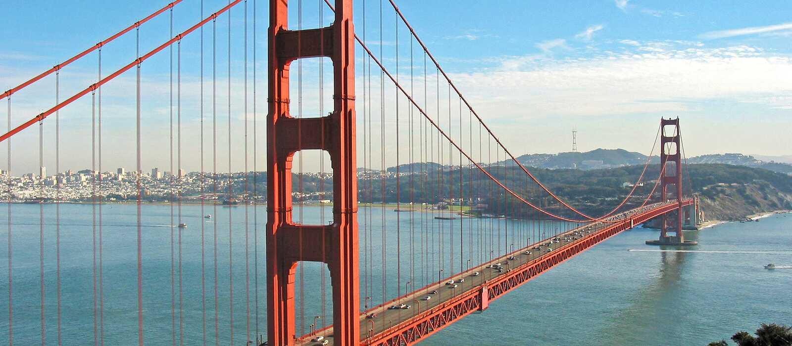 Blick auf die Golden Gate Bridge und San Francisco