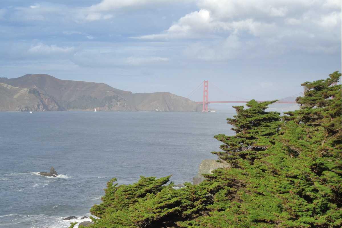 Blick auf die Golden Gate Bridge vom Lands End Coastal Trail