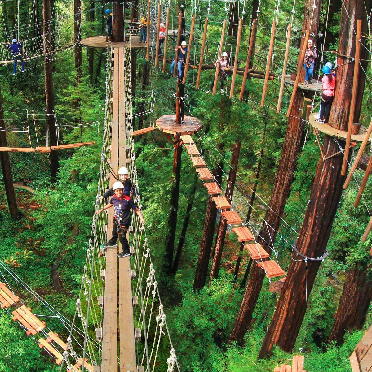 Der Mount Hermon Adventures Hochseilgarten in Santa Cruz County