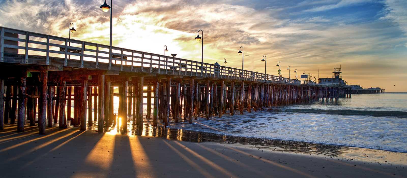 Santa Cruz Wharf bei Sonnenuntergang
