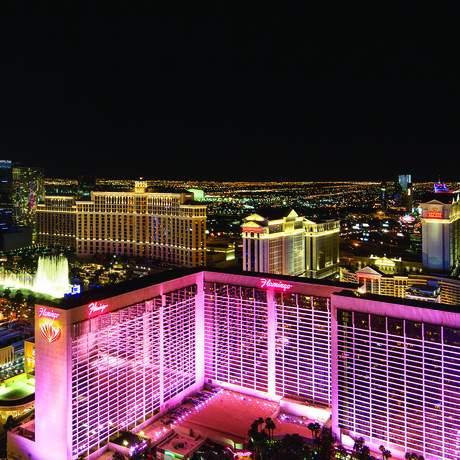 Luftaufnahme von Las Vegas bei Nacht