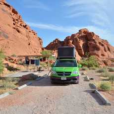Jucy auf dem Arch Rock Campground, Moapa Valley, Nevada