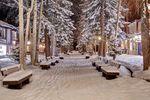 Verschneite Straße in Aspen Snowmass