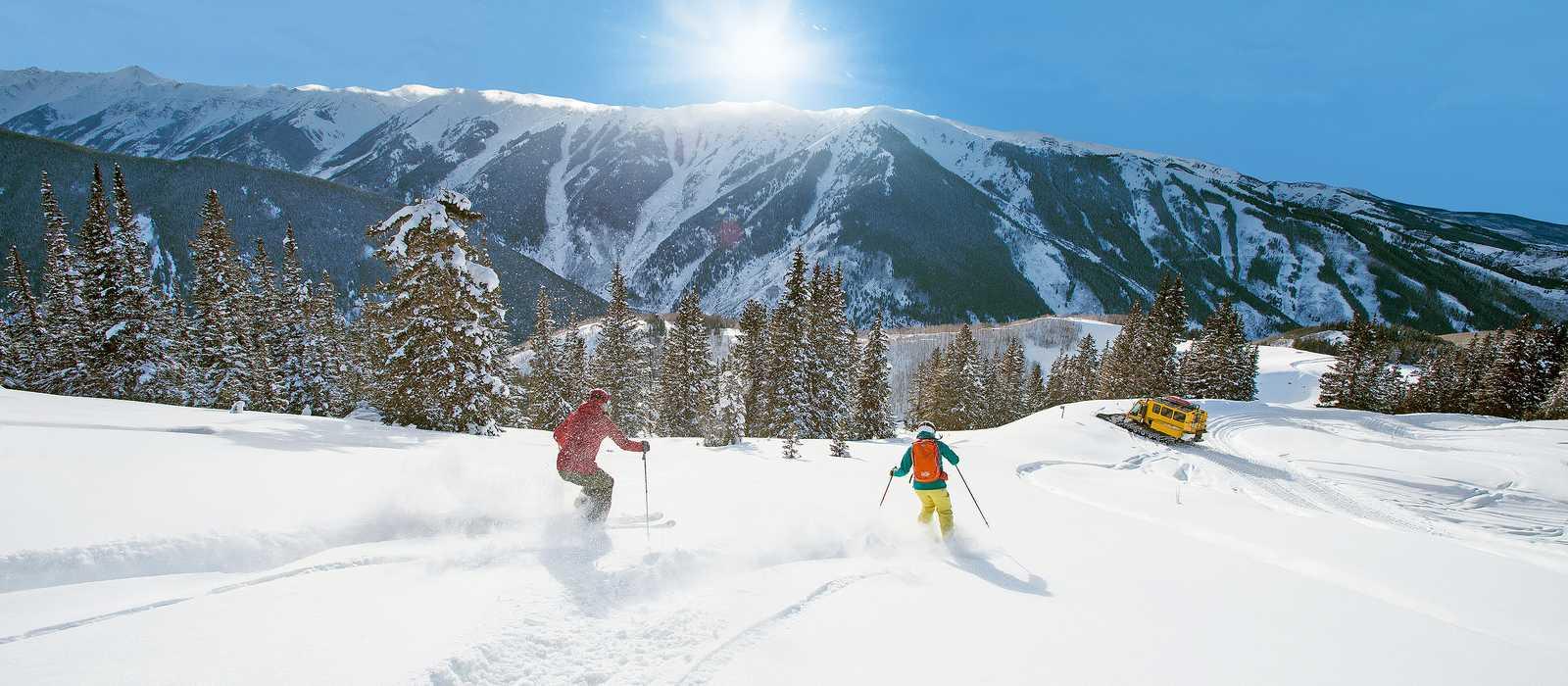 Cat-Skiing bei Sonnenschein in Aspen
