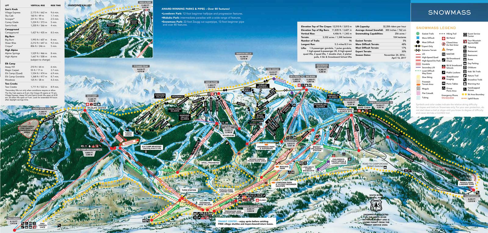 Pistenplan von Aspem Snowmass