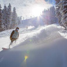Snowboarder fährt durch frischen Schnee, Aspen, Colorado