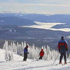 Kleine Gruppe Skifahrer geniesst die Aussicht bei der Abfahrt