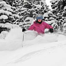 Skifahrerin beim Tree-Skiing