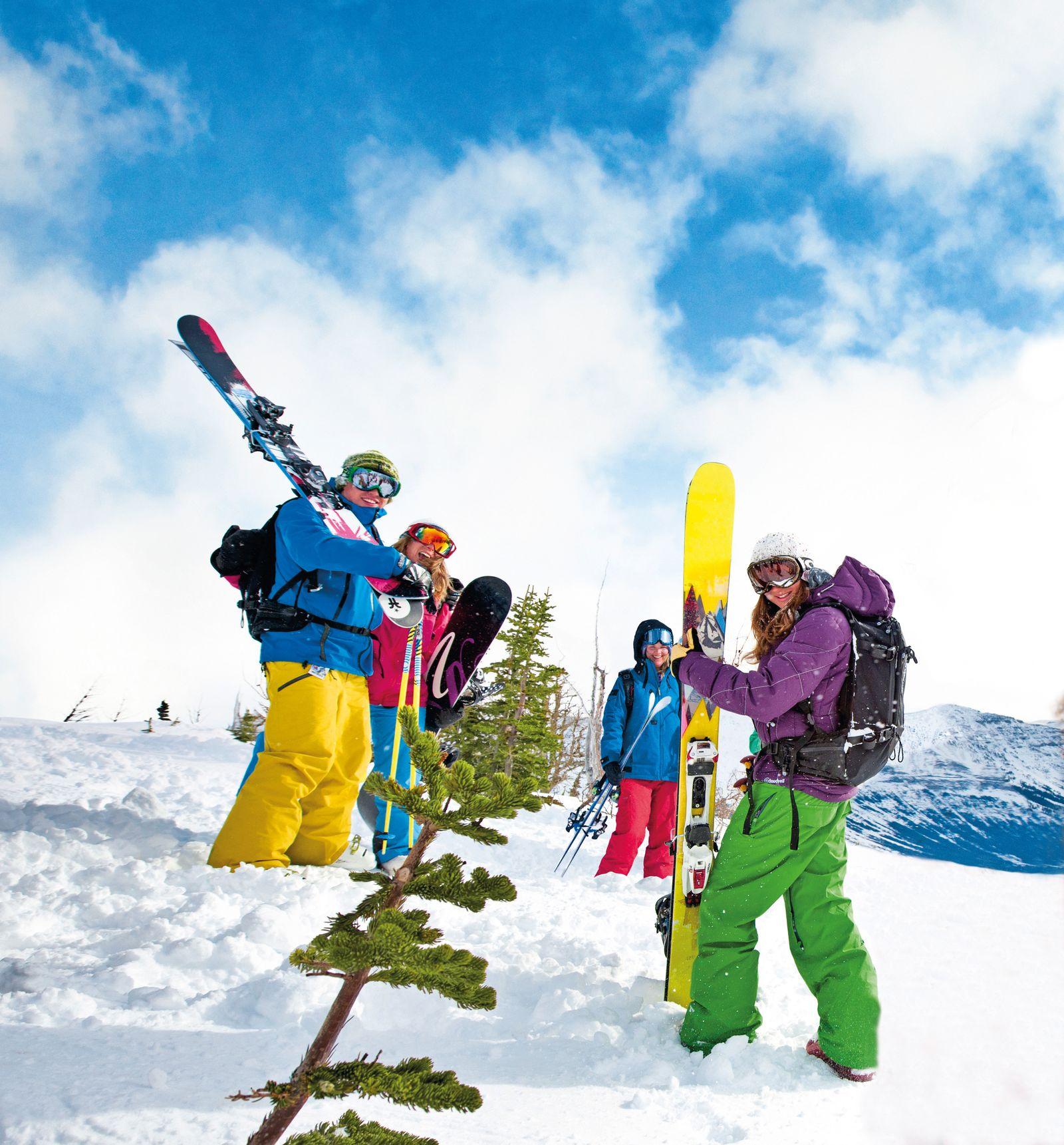 Wintersportfans am Castle Mountain