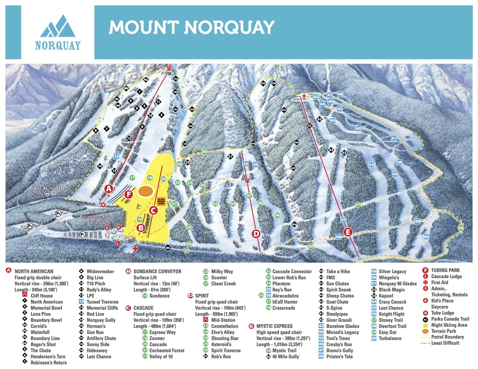 Pistenplan Mount Norquay