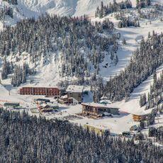 Blick auf das Sunshine Village Ski Resort