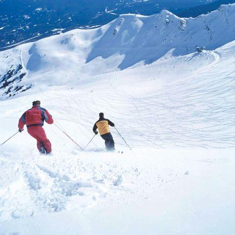 Zwei Skifahrer bei der Abfahrt in Mamot Basin