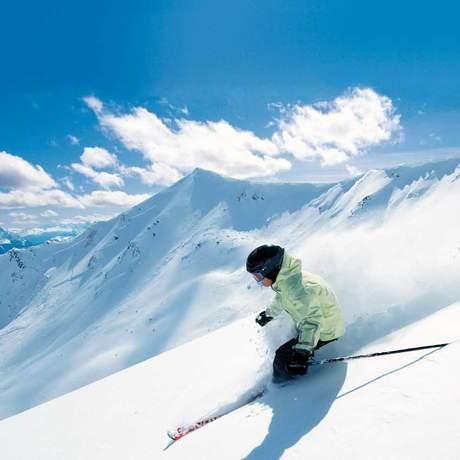 Ski-Abfahrt in Jasper
