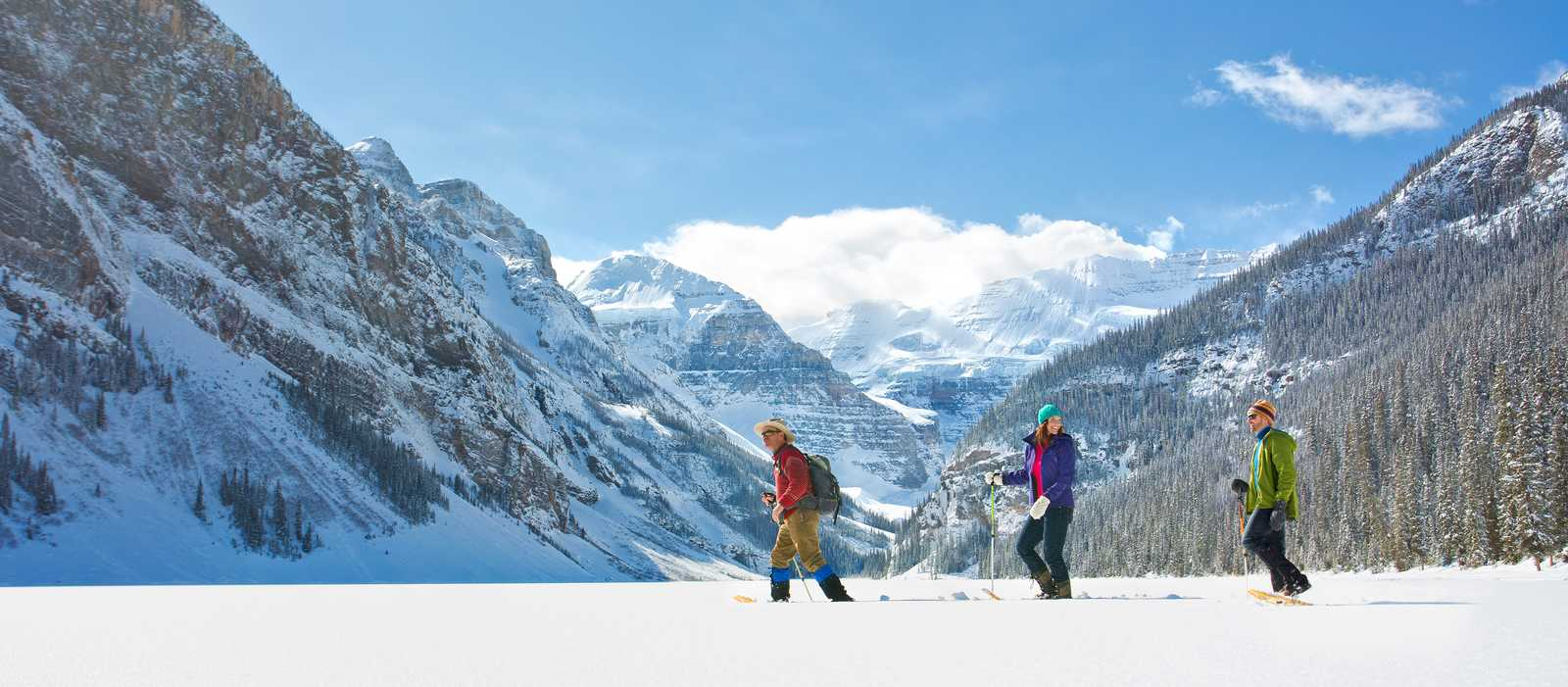 Schneeschuhwanderung am Fairmont Chateau Lake Louise, Alberta