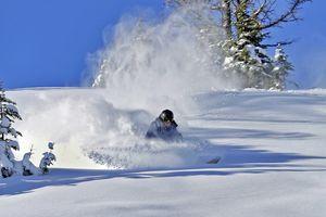 Mit dem Snowboard durch den Neuschnee in Sunshine Village