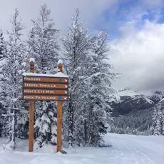 Ein Skirouten Schild im Sunshine Village