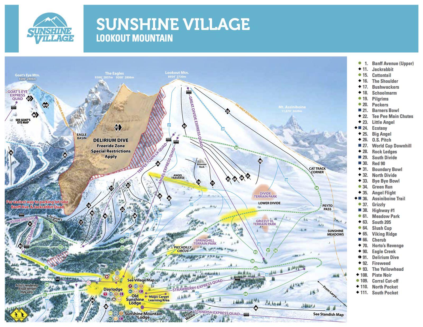 Pistenplan Sunshine Village - Lookout Mountain