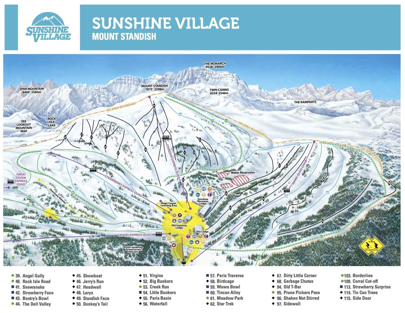 Pistenplan Sunshine Village - Mount Standish