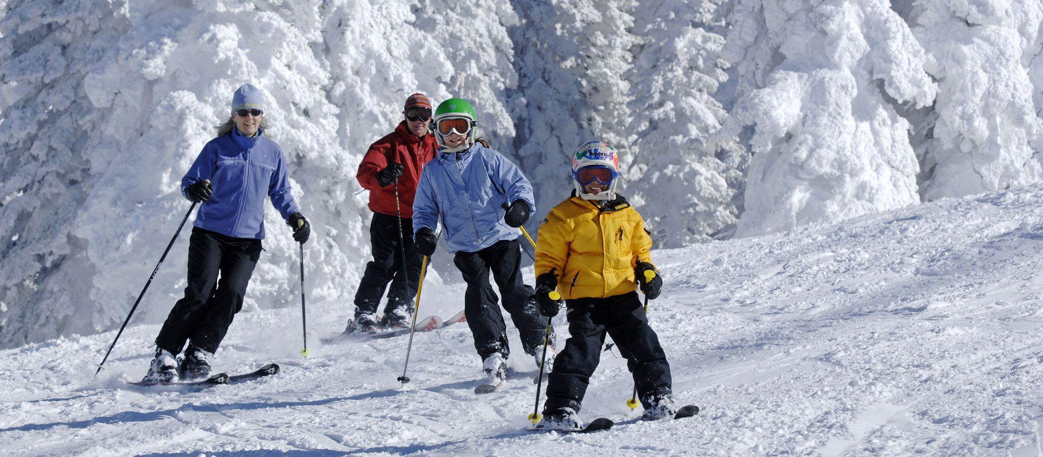 Skigruppe auf Abfahrt