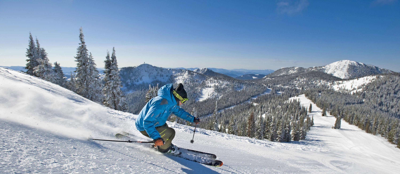 Downhill Skiing at Red Mountain, British Columbia