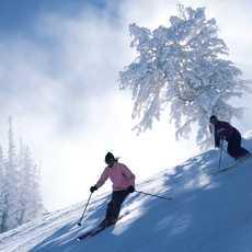 Skiing on a bluebird powder day.