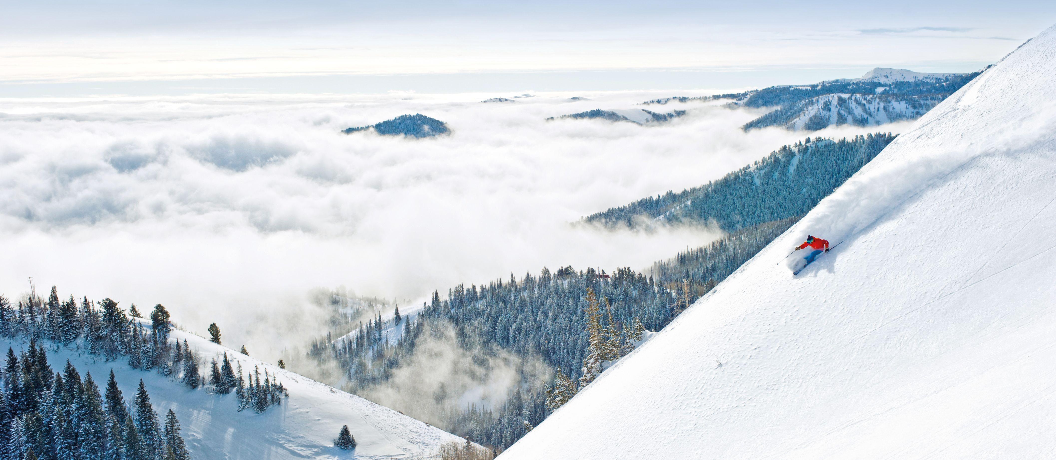 Abfahrt im Skigebiet The Canyons
