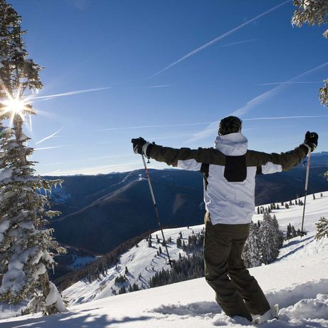 Skiers taking advantage of powder in Vail's back bowls.