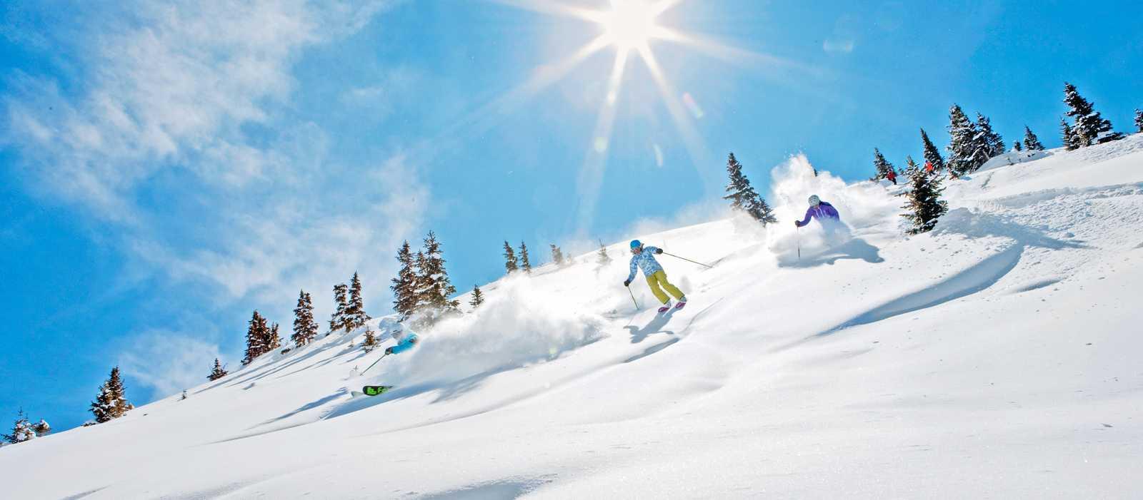 Skifahrer im Powder bei Gegenlicht