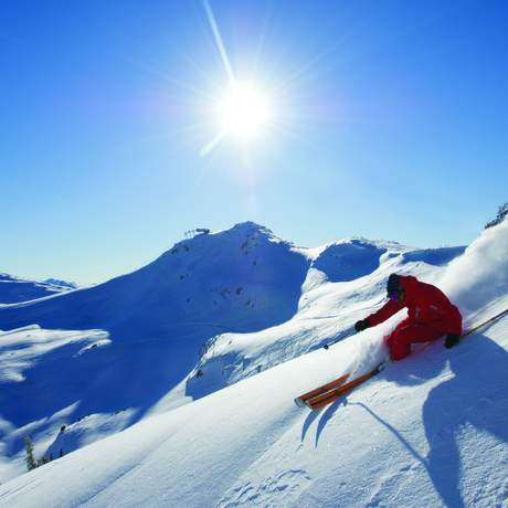 Skifahrer beim carving