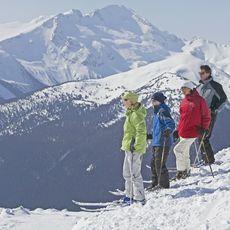 Skifahrer geniessen den Ausblick