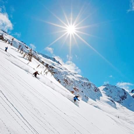 Skifahrer im Powder auf dem Blackcomb Glacier